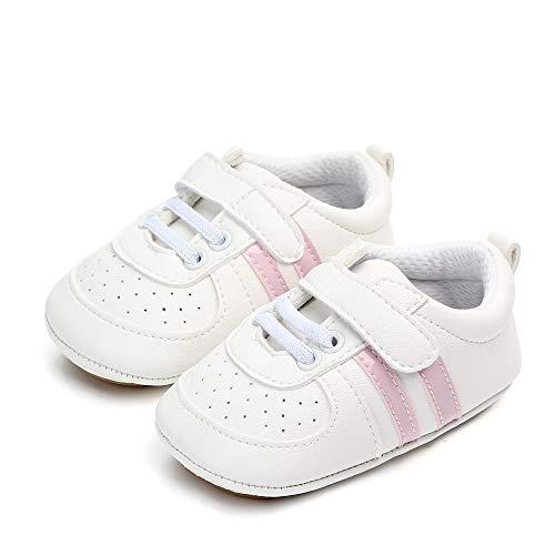 MASOCIO Zapatos Unisex Bebe Niña Recién Nacido Primeros Pasos Zapatillas Deportivas Bebé Suela Blanda Antideslizante Blanco Rosa 3-6 Meses