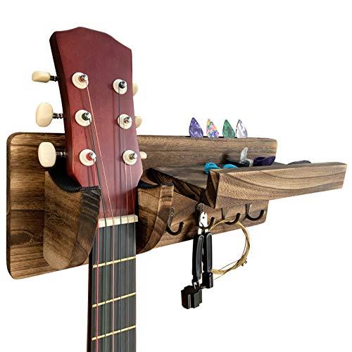 TTCR-II Supporto Chitarra, Porta Chitarra da Muro in Legno con 4 Ganci e Supporto per Plettri per Accessori Chitarra Acustica Classica Basso Chitarre Elettriche Ukulele Violino