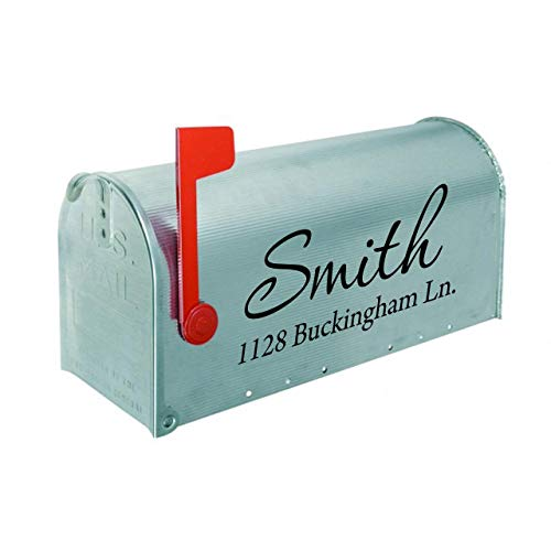 Mailbox Decals Personalized Address and Street Name Outdoor Stickers VWAQ-CMB1 (12 Inch X 6 Inch, Black)