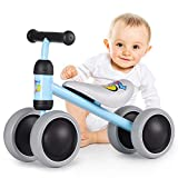 ALBION HOME Baby Balance Bikes 12-24 Month Children Walker, Push Bike Baby Ride On Bike for Boys and Girls, No Pedal Infant 4 Wheels Toddler Bicycle, Best Gift Indoor Outdoor (Blue)