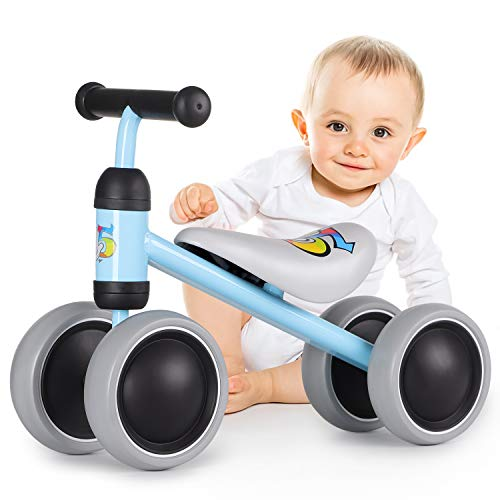 ALBION HOME Baby Balance Bikes 12-24 Month Children Walker, Push Bike Baby Ride On Bike for Boys and Girls, No Pedal Infant 4 Wheels Toddler Bicycle, Best Gift Indoor Outdoor Toys (Blue)