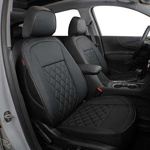 EKR Custom Fit Full Set Car Seat Covers for Select Chevy Equinox 2018 2019 - Leatherette (Black)