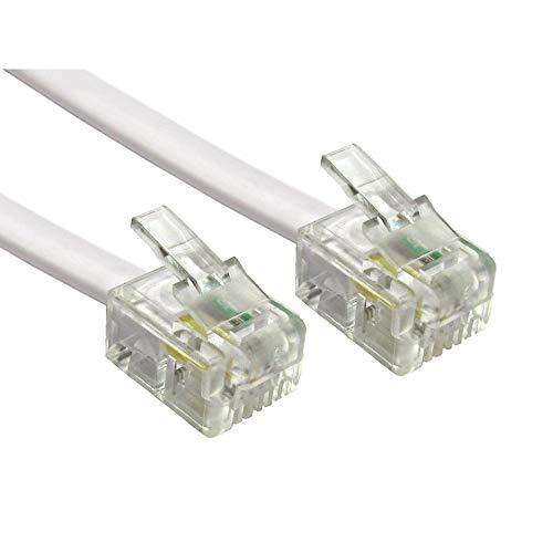 Alida Systems ® 5m ADSL Kabel - Premium Qualität/vergoldet Kontakt Pins/Hoch Geschwindigkeits Internet Breitband/Router oder Modem zu RJ11 Telefon Socket oder Microfilter/Weiß