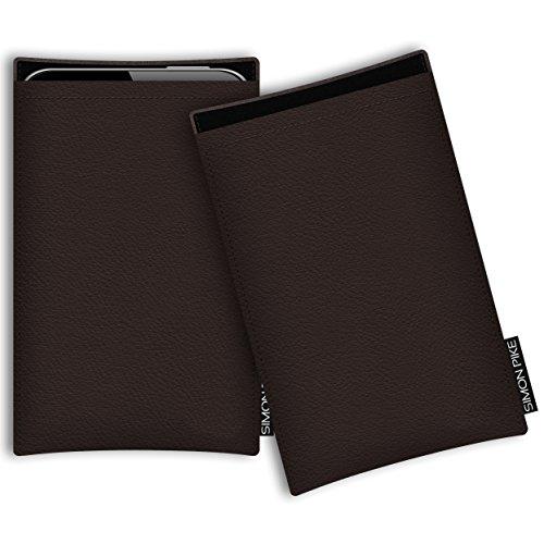 SIMON PIKE Ledertasche Boston, kompatibel mit Wiko Darkside, in 01 braun echtem Leder Handyhülle Schutzhülle Handytasche