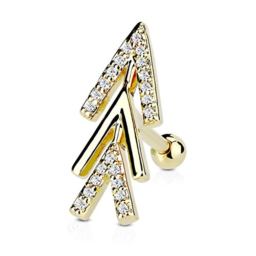Kultpiercing - Helix Piercing Crystal Pfeile Zirkonia - Tragus Cartilage Piercing-Stecker Barbell - 3 mm Gold