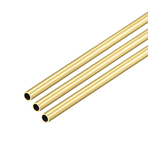 uxcell Brass Round Tube, 300mm Length 4mm OD 0.5mm Wall Thickness, Seamless Straight Pipe Tubing 3 Pcs