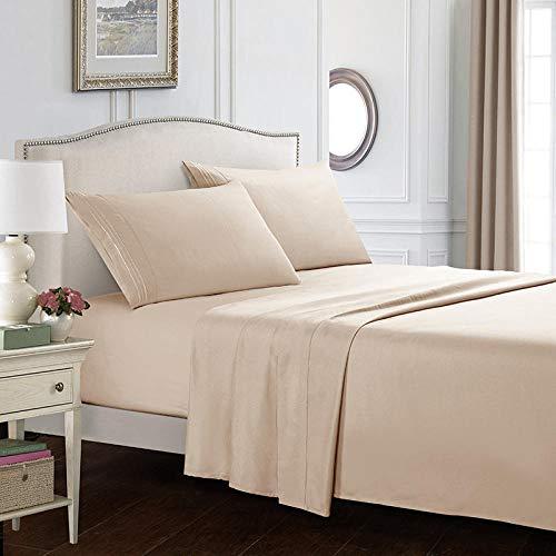 GmanXier Cama Plana Kit de Textiles para el hogar de Cuatro Piezas de Color Simple Ropa de Cama sábanas de Cuatro Piezas de Color Liso Kit de sábanas de 14 pulgadas-Beige137 * 190cm + 35cm (4 Piezas)