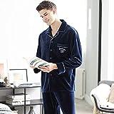 Pijama Hombre Mangas Largas Set,Hombres Pijamas Set Invierno Lujo De Lujo Grueso Franela Suave Ropa De Dormir 2 Piezas / Set Tops + Pantalones Calientes Pyjama Set Plus Tamaño Ropa De Hogar Térmica