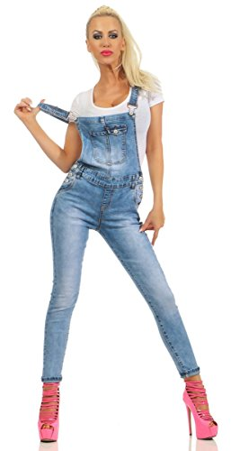 Fashion4Young 5300 Damen Jeans Latzhose Latz Jeans Träger Röhrenjeans Jeanslatzhose Stretch Slimline (blau, M-38)