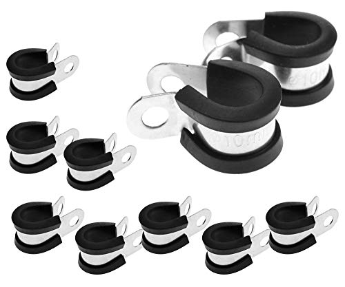 Abrazadera P Clip P Forrado de goma Abrazadera de 10 mm de diámetro para cable de cableado de manguera (10 unidades)