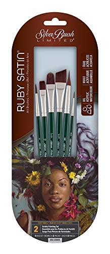 Silver Brush RSS-2560S Ruby Satin Starter Short Handle Acrylic/Oil Brush Set