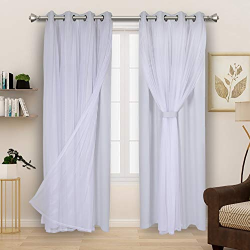 BONZER Grommet Double-Layered Curtains with White Sheer Voile for Living Room Mix and Match Blackout Curtains , White Geyish, 52x95 Inch, Set of 2 Panels