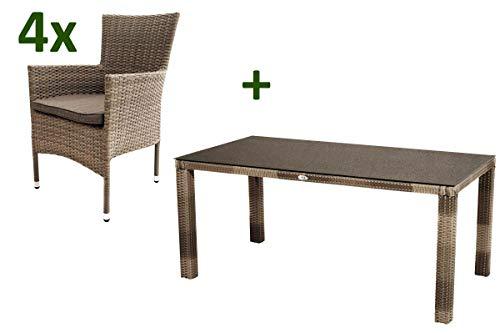 Ploss Rabida Sitzgruppe, Champagner-meliert, Polyrattan, Tisch 170x90 cm, 4 Stapelsessel, Glasplatte in Steinoptik