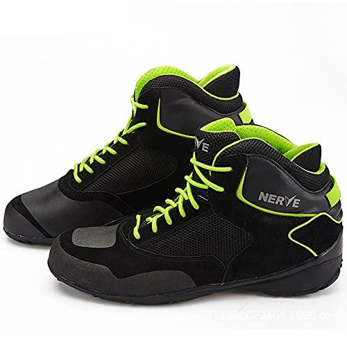 PGthree Botas Cortas de Moto para Hombre Negro Verde - Protección de Tobillo Anti resbalón Racing Motocross Zapatos, Motocicletas Hombres y Mujeres Traveseo Ciudad Urbana Botas de Cuero (Size