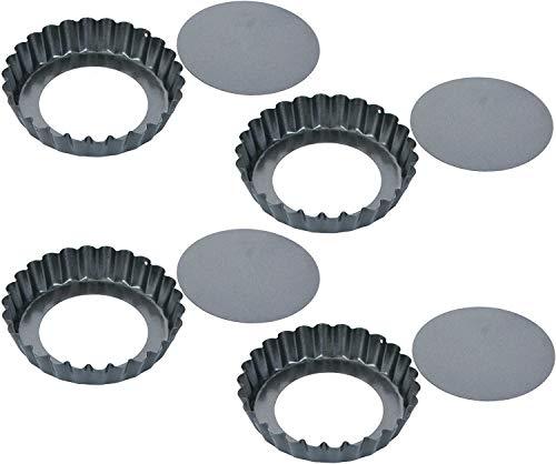 Moldes para quiche, 4 piezas, sartén para quiche redonda con fondo extraíble, molde de horno con revestimiento antiadherente y bordes ondulados (gris