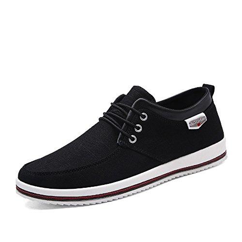 CUSTOME Hombres Lona Zapatos Plano Suave Ligero Casual para Caminar Zapatos Sneaker Alpargatas Comodidad Negro