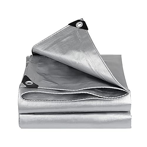 Lonas Impermeables Exterior Perforada Plateada, 160g / m²,Toldos Plastico Reforzado, Apto Para Pérgola/Piscina/Camping/Camión (4x4m/13x13ft)