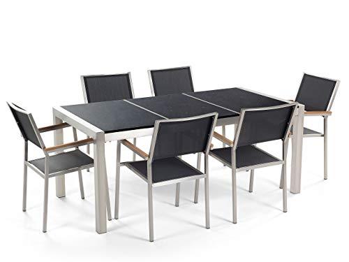Tuintafel, 180 cm, met drievoudige granietplaat, zwart, gepolijst, met 6 stoelen van zwart textiel