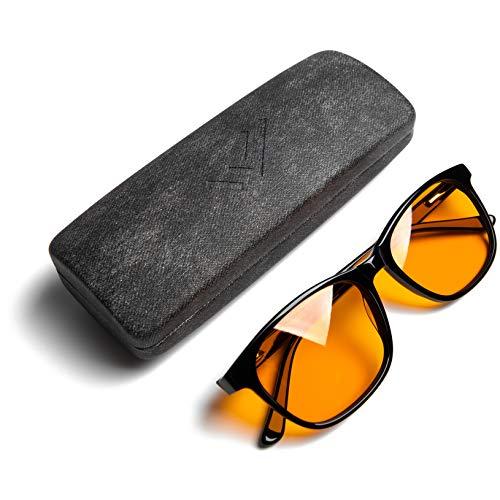 the HEALTH LISTS Blue Light Blocking Reading Glasses for Better Sleep - Amber Orange Computer Filter Anti Eye Strain - Round (Black +2.5) Regular - by THL