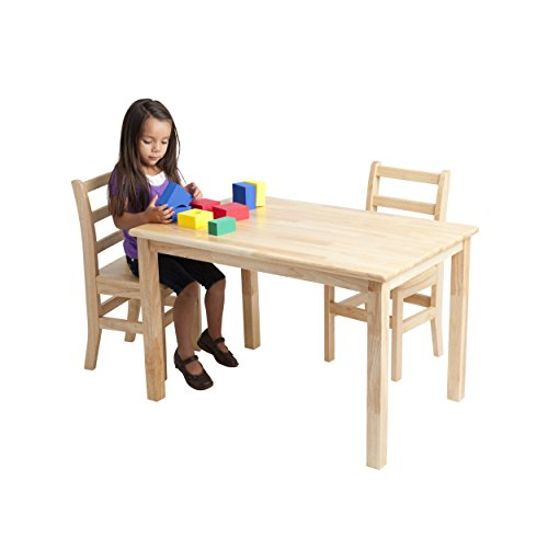 ECR4KidsDeluxe Hardwood Activity Play Table for Kids, Solid Wood Childrens Table for Playroom/Daycare/Preschool, 30 x 48 Inch Rectangle, Natural Finish