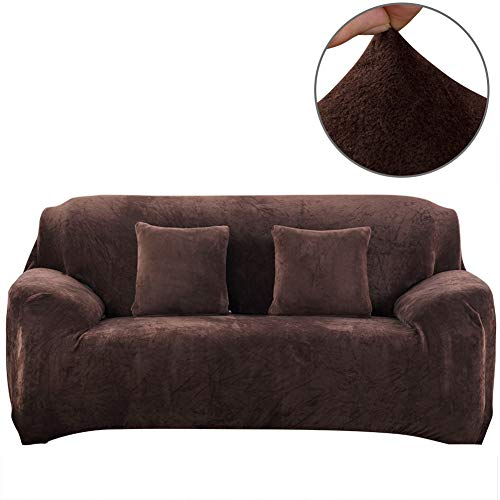 Fundas de sofá de Felpa Gruesa de Color Puro para sofá de 1/2/3/4 de Asiento, Protector de sofá de Terciopelo elástico para Sala de Estar, marrón, 3 Seater Slipcover