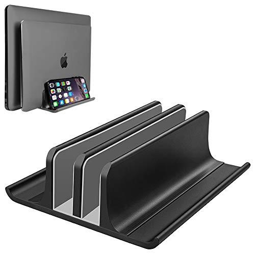 VAYDEER Doppelt Vertikaler Laptopständer Verstellbarer Neu gestalteter 2 Steckplatz Aluminium Desktop Doppelhalter für alle MacBook/Chromebook/Surface/Dell/iPad bis zu 17,3 Zoll - Schwarz