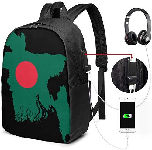 Bangladesh Kaart Vlag Waterdichte Laptop Rugzak met USB Opladen Poort Hoofdtelefoon Past 17 Inch Laptop Computer Rugzakken Reizen Daypack School Tassen voor Mannen Vrouwen