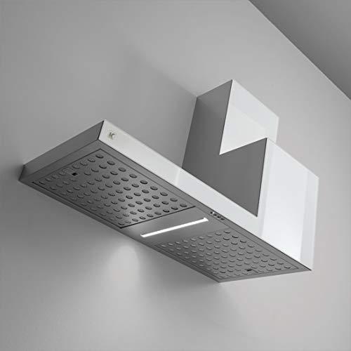 KDesign Campana extractora de pared, modelo K105, disponible en 2 tamaños, filtros de carbono, iluminación LED, diseño 100% fabricado en Italia (120 cm lado izquierdo)