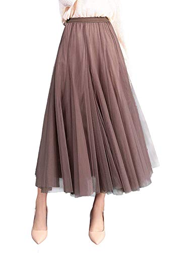 WangsCanis Damen Langer Tüllrock A Linie Tüll Röcke Einheitsgröße Elegante Hochzeit Tutu Maxiröcke (Dunkelrosa, Einheitsgröße)