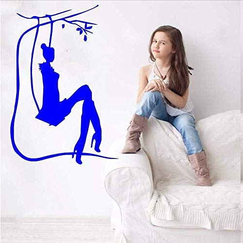 Salón Chica Silueta Diseño De Arte Etiqueta De La Pared En Columpio Pintor De Pared De Vinilo Con Dormitorio Decoración Dulce Calcomanía De Papel Tapiz De Calidad 42 * 62 Cm