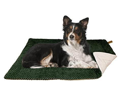 FLUFFINO® Hundedecke - Flauschig, Weich u. Waschbar (Größe M, grün)- Wildlederimitat für erhöhte Rutschfestigkeit - Für große u. Kleine Hunde o. Katzen