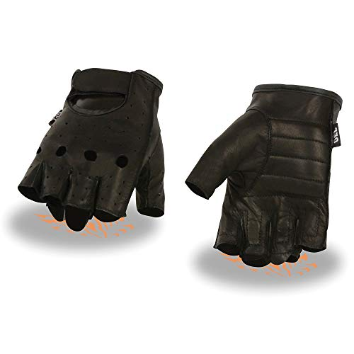 Milwaukee Leather SH195 Men's 'Open Knuckles' Black Leather Fingerless Gloves with Gel Palm - Large