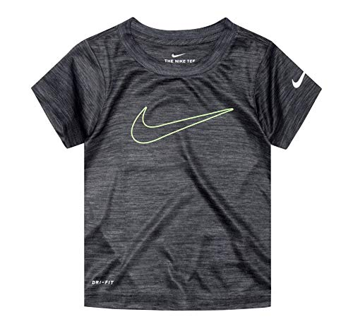 Nike Toddler Boys Dri-Fit Split Swoosh Graphic T-Shirt (Black(86R573-023)/Volt, 6)