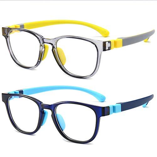 Blue Light Glasses for Kids,Blue Light Blocking Glasses for Girl and Boy Transparent Frame TR90 Flexible Strap Anti-Eyestrain Headache and UV Glare 2 Pack Age 3-12(Yellow+Blue)