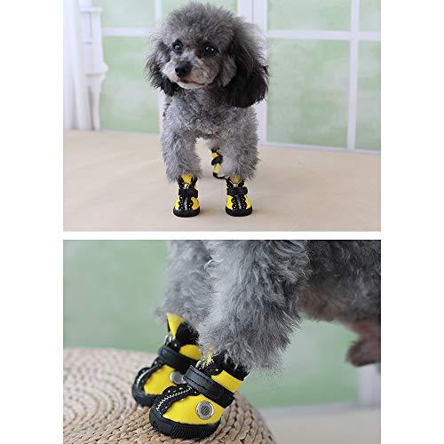 FADJIKKP 4 Pack, Hundebreathable Haustier-Schuhe, wasserdichtes Gewebe, justierbare magischer Griff und Reißverschluss, geeignet for kleine Hunde wie Teddy (Color : A, Size : 1)