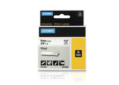 DYMO Beschriftungsband RHINO 18443 / 9 mm / Druck schwarz / Band weiß / für DYMO Rhino 4200/5200/6000, ILP, RhinoPro 5000