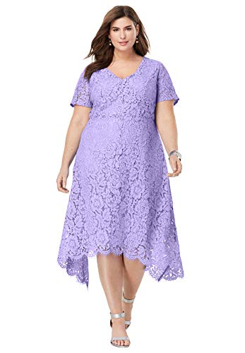 Jessica London Women's Plus Size Lace Handkerchief Dress - 16 W, Vintage Lavender