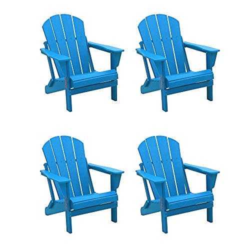 WO 4 Piece Set Outdoor Folding Poly Adirondack Chair for Backyard, Lawn, Patio, Deck, Garden, Weather Resistant Polyethylene Plastic Lounger, Pacific Blue