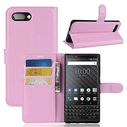 Ycloud Tasche für BlackBerry Key 2 Hülle, PU Kunstleder Ledertasche Flip Cover Wallet Hülle Handyhülle mit Stand Function Credit Card Slots Bookstyle Purse Design Rosa