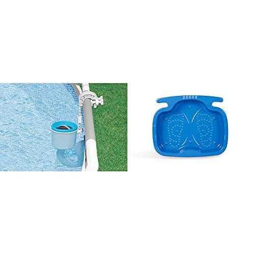 Intex Deluxe Einhängeskimmer Pools, Großer Filterkorb Ø 16 cm, Anschluss Ø 40 mm & Pool Foot Bath - Poolzubehör - Pool Fußbad - 56 x 46 x 9 cm