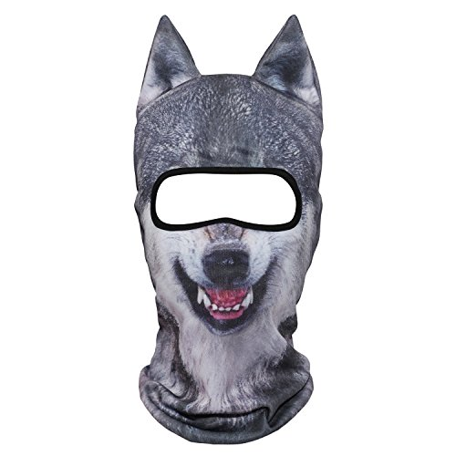 WTACTFUL 3D Animal Ears Balaclava Breathable Windproof Face Mask Protection for Skiing Snowboard Cycling Motorcycle Music Festivals Raves Halloween Party Cosply Outdoor Coyote Gray Wolf Snow