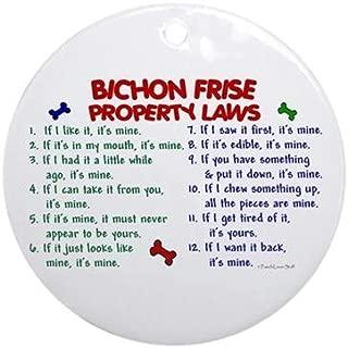 Yilooom Bichon Frise Property Laws 2 Flat Porcelain Ceramic Ornament Round-Christmas/Holiday/Love/Anniversary/Newlyweds/Keepsake - 3