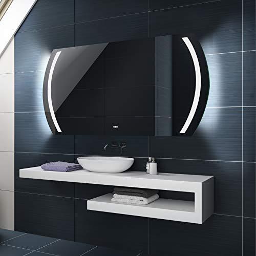 Badspiegel 120x60cm mit LED Beleuchtung - Wählen Sie Zubehör - Individuell Nach Maß - Beleuchtet Wandspiegel Lichtspiegel Badezimmerspiegel - LED Farbe zu Wählen Kaltweiß/Warmweiß L67