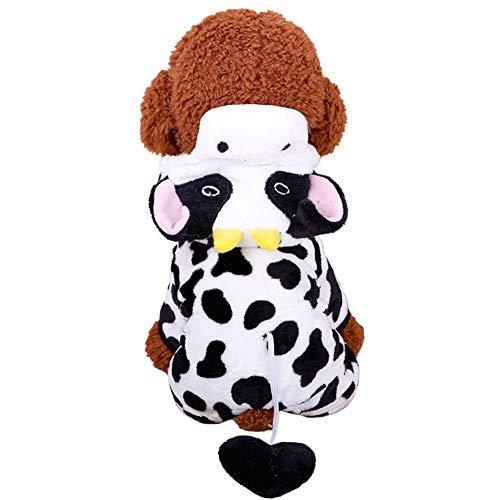 Etophigh schattige pet hond pluche pak hond mooie koe vormen winter warme hoodies puppy cosplay kleding, X-Large
