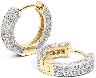 Two Tone Gold Plated Fully Iced Small Sterling Silver Huggie Men s Hoop Earrings product image
