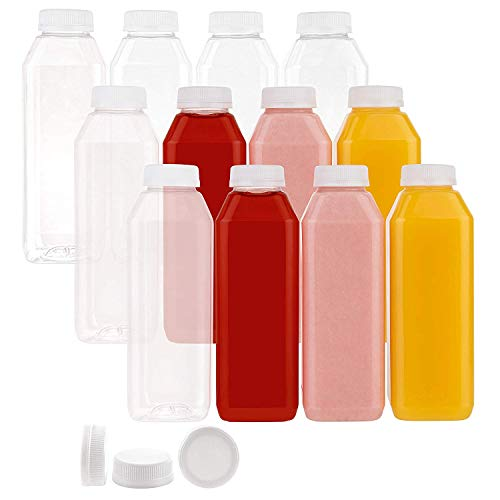 Disposable PTA Plastic Bottles-16 Oz Containers, For Water, Orange Apple Lemon Juicing, Smoothies, Milk, Coffee-Reusable, Dishwasher Safe, BPA Free, Tamper-Proof Caps- Catering, Takeout (160)
