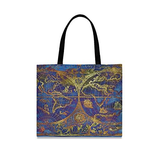 Bolsas de lona de gran capacidad cuadrada para niñas Ilustración vintage Blue...