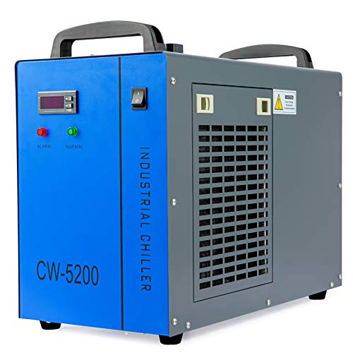 OMTech 6L Industrial Water Chiller 0.9hp 2.6gpm Water Cooling System CW-5200 Water Cooler for 60W 70W 80W 90W 100W 120W 130W 150W CO2 Laser Engraving & Cutting Machines, Cools 5200 BTU/Hour