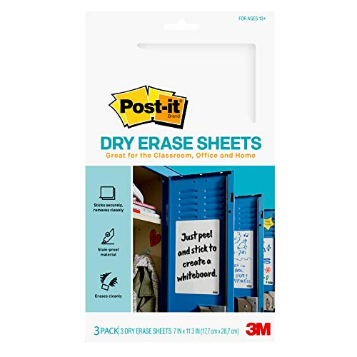 Post-it Dry Erase Sheets, 7 in x 11.3 in, Sticks Securely and Removes Cleanly...