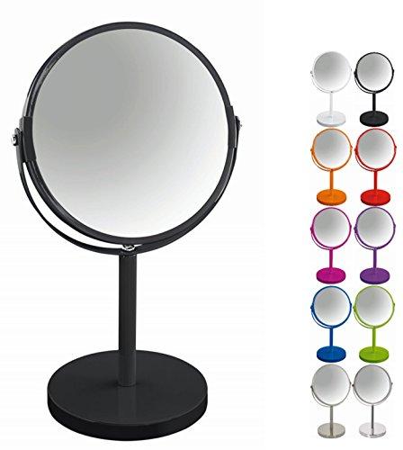 Spirella colección Sydney, Espejo de pie para tocador o baño 17x17x27 (Reversible: 100% y x2 aumentos), Metal, Negro